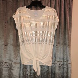 XS Cream Tunic Top with Knotted Tie-Knot Front